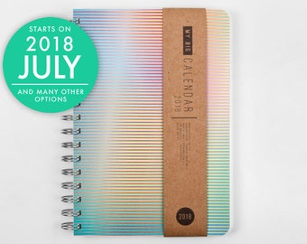 2018 2019 weekly planner journal with a high quality paper! Bright stripes design A5 Diary! Weekly Calendar Calendario Agenda Open-dated