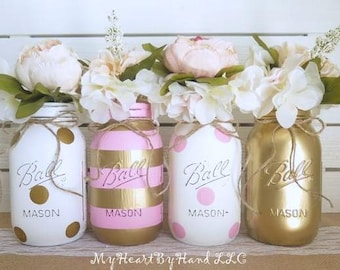 baby shower decorations pink and gold centerpieces mason jar