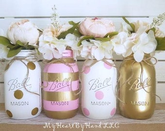 Baby Shower Decorations Girl, Baby Shower Decor, Baby Shower Mason Jars,  Pink And