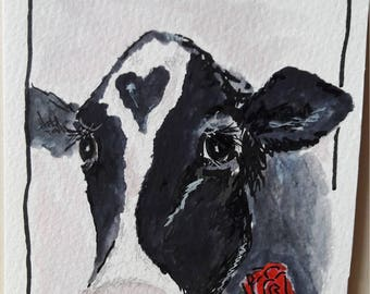 Hand-painted greeting card cow to download