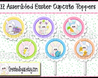Easter Cupcake Toppers Easter Decorations Custom food picks Bunny rabbit cake toppers Easter party toppers Spring toppers 12 assembled