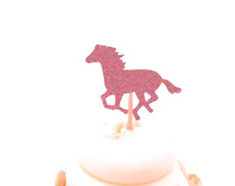 24 Light Pink Glitter Horse Cupcake Toppers