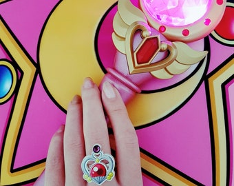 Sailor Moon ring, Sailor Pluto, Garnet orb with Swarovski rhinestone
