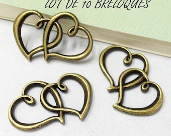 SET of 5 charm double heart interlaced bronze (T20)
