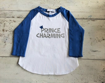 Prince Charming Shirt - Boy Raglan T shirt - Birthday Shirt - Personalized T shirt - Baseball Raglan Tee