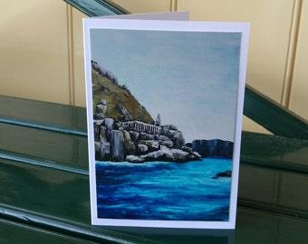 Seascape greeting card fine art Tasman Island painting