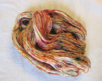 "100% Alpaca -Speckle Dyed by Hand - ""Falling Leaves""  - 3 Ply DK Weight Yarn - 250 Yds - 12-14 WPI"