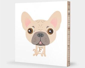 French Bulldog art | Cream / Tan Frenchie - Alphabet art, Pet portrait, Frenchie gift, Dog art, nursery decor, Pet illustration, Animal art