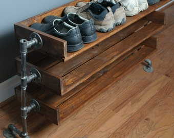 Handmade Reclaimed Wood Shoe Stand / Rack / Organizer with Pipe Stand Legs
