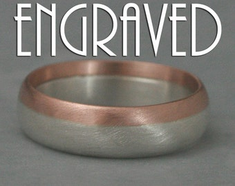 Engraved Ring--Modern Men's Ring--Two Tone Band--14K Gold and Silver Ring--Inside Engraving--Personalized Ring--Men's Wedding Ring