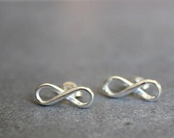 Infinity earrings, silver stud earrings, Silver post earrings, infinity jewelry, friendship earrings.