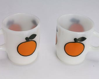 FIRE KING Anchor Hocking Fruit Coffee Mugs Lot of 2 Stacking Cups Glass Orange