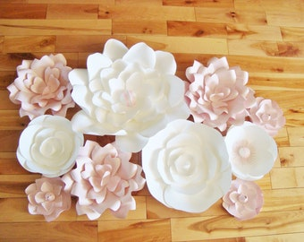 Set of 10 Flowers - Paper Flowers | Baby Nursery Decor | Paper Flower Backdrop | Wedding Flowers | Paper Flower Wall | Paper Flower Art