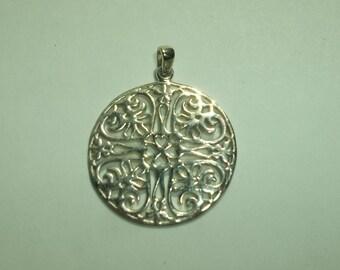 925 Sterling Japanese Inspired floral  Pendant
