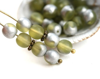 6mm Round Druk beads, Matte Olivine Silver Coating Olive green glass beads, czech spacers, pressed glass - 30Pc - 2592