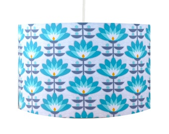 Teal lampshade etsy retro teal blue flowers 30cm drum lampshade aloadofball Image collections