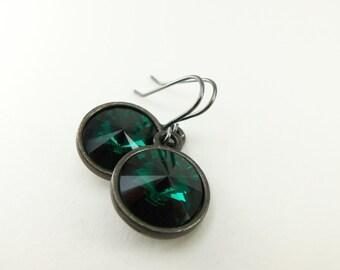 May Birthstone Earrings Emerald Earrings Birthstone Dangle Drop Earrings May Birthstone Emerald Crystal Drop Earrings