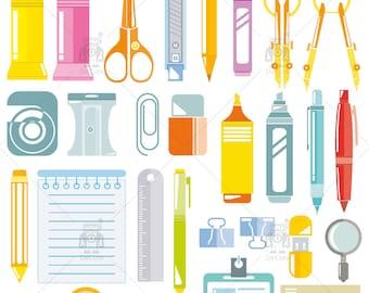 Office Stationery Digital Vector Clip art, Back to School Clipart, Pen, Marker, Ruler