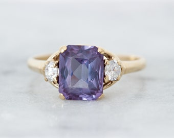 1950s Synthetic Alexandrite Ring, Vintage 10k Yellow Gold Emerald Cut Purple Gemstone Cocktail Ring, Color Change Statement Jewelry Size 6.5