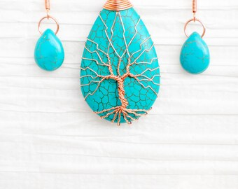 Tree of Life pendant, copper wire wrapped, Turquoise pendant and matching earrings