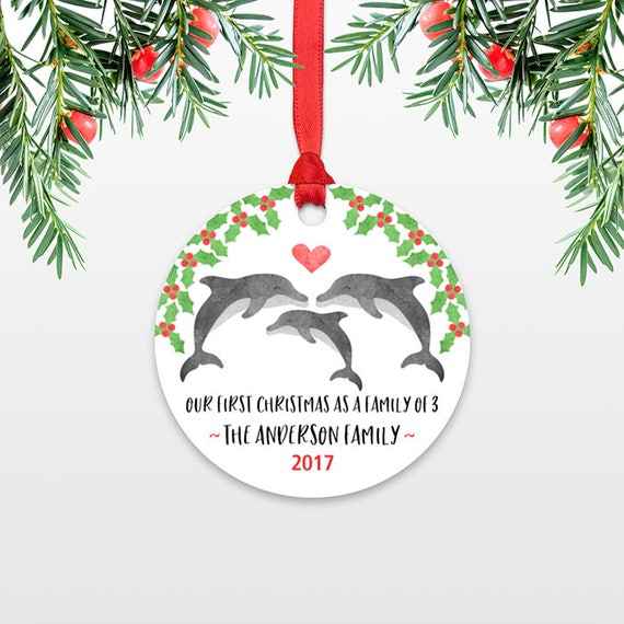 Dolphin New Parents Christmas Ornament Family Christmas Ornament Our First Christmas Baby Personalized Christmas Ornament Family of 3 Three