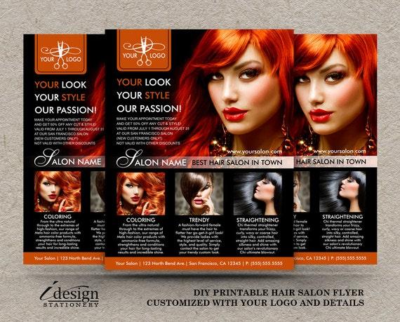 Items Similar To Hair Salon Flyers Printable Hair Stylist Flyer