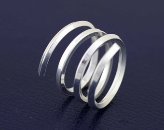 Sterling Silver Spiral Ring,  Spiral Finger Sleeve, Sterling Silver Woman Modern Ring, Silver Wide Ring, Silver Minimalist ring