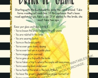 INSTANT DOWNLOAD printable bachelorette game / bachelorette drinking game / bachelorette party game / drink if game / pineapple bachelorette