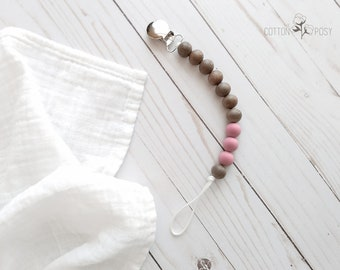 Wood and Silicone Pacifier Clip - Dusty Rose