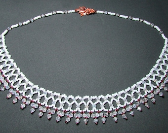 White, copper & Crystal Netted Necklace