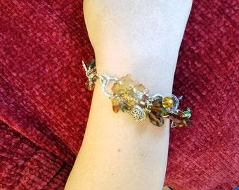 Fall Leaf Jewelry, Nature Jewelry, Leaf Bracelet, Fall Charm Bracelet, Fall Jewelry, Autumn Bracelet, Leaf Bangle, Leaves Bracelet