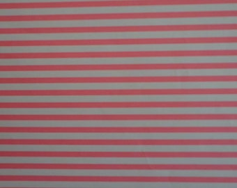 Vintage Gift Wrap Paper 1970s Peachy Pink & White Stripe All Occasion Wrapping Paper 1 Sheet