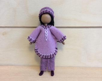 Amber - Dollhouse doll - Miniature doll - Bendy doll - Faceless doll - Waldorf doll - Montessori - home school - natural doll