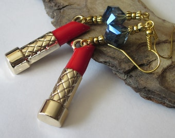 Red Lipstick Earrings, Long Dangle Earrings, Red and Gold, Sapphire Blue Crystal Earrings, Make up Jewelry