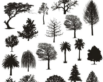 Tree Clipart, Tree Silhouettes Clipart, Family Tree Silhouettes Clipart, Nature Clip Art, Clipart Forest, Instant Download