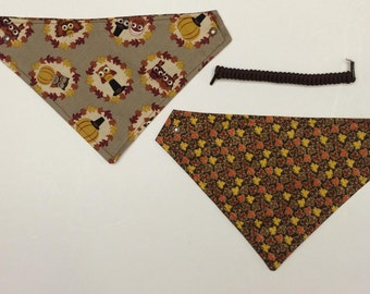 reversible pet bandanas~pet bandanas~thanksgiving~dog pet wear, holiday wear
