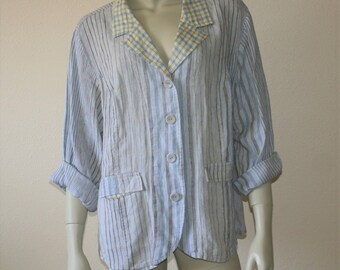 FLAX Striped & Checked Linen Oversized Jacket 1G