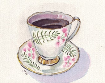 Watercolor Painting - Teacup Art, Cup with Coffee Watercolor Art Print, 5x7