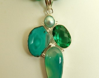 Green Agate Multi Gem Silver Pendant Necklace. Free Shipping