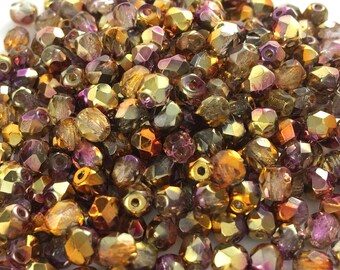 100 pcs 4mm Faceted Round Fire Polished Beads, Sunny Magic Embers
