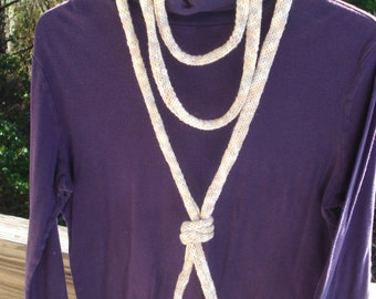 Knit Necklace - Extra Long Necklace - Fiber Necklace  - Textile Jewelry