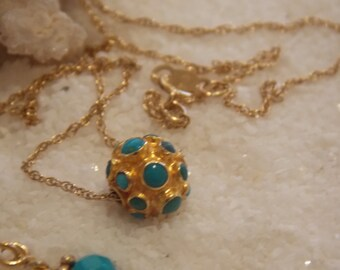 14k Solid Gold and Turquoise Necklace with 24k Gold Vermeil and Turqoise Earrings