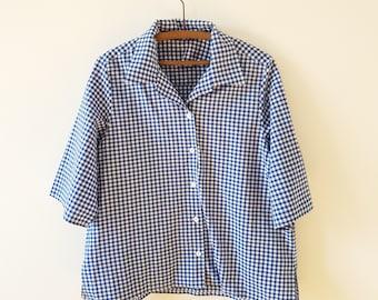 Shirt / gingham / oversized / blue / white / vintage