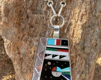 "ZUNI INLAY NECKLACE by Harold Smith, 22"" Long, 51 Grams, Sterling"