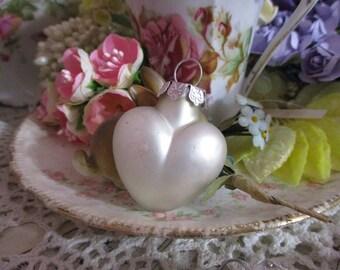Glass Valentine Heart Ornaments-WHITE-Set of 4