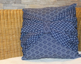 African pillow, Cushion cover, Navy and white, Sash, 18 x 18 inches, Home and Living, Decorative pillow, Custom Cushions, Accent pillows