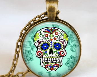 Sugar Skull turquoise Pendant, Sugar Skull Necklace, Day of The Dead Necklace,art pendant,art charm, handmade pendant, sugar skull jewelry