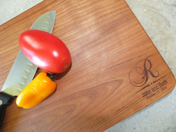 Personalized Cutting Board Engraved with Initial, Names and Date in Cherry, Walnut, White Oak or Maple Wood.