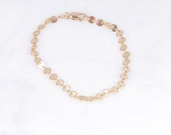 Tiny Gold Coin Bracelet, Dainty Gold Bracelet, Gold Coin Bracelet, Layering Bracelet, Bridesmaid Gift, Gift Under 30, Gold Bracelet