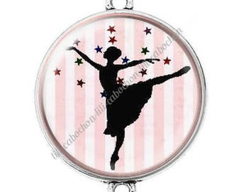 Large silver cabochon connector dancer ballerina 4
